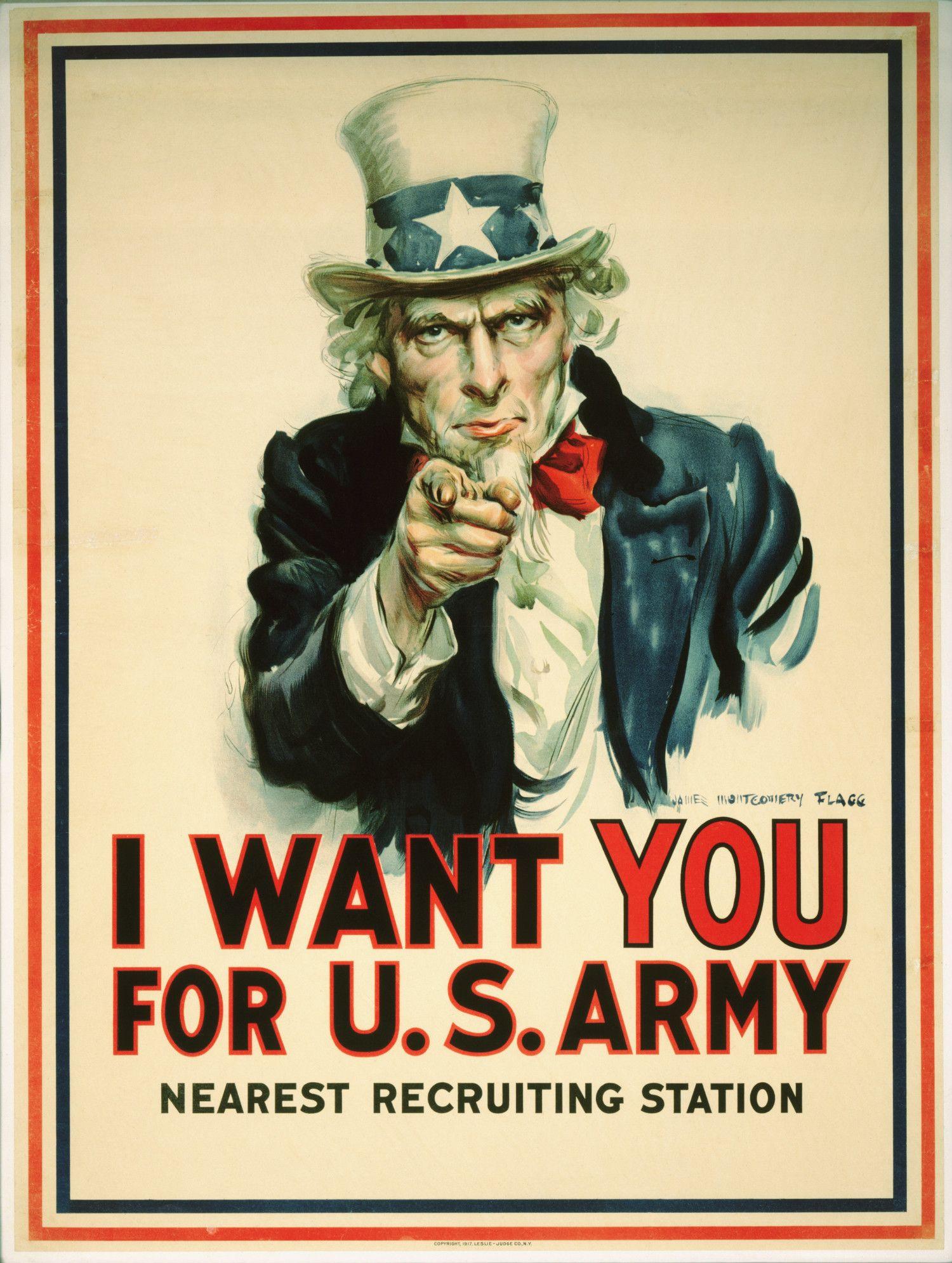 アンクル・サムによる兵士募集のポスター ©getty