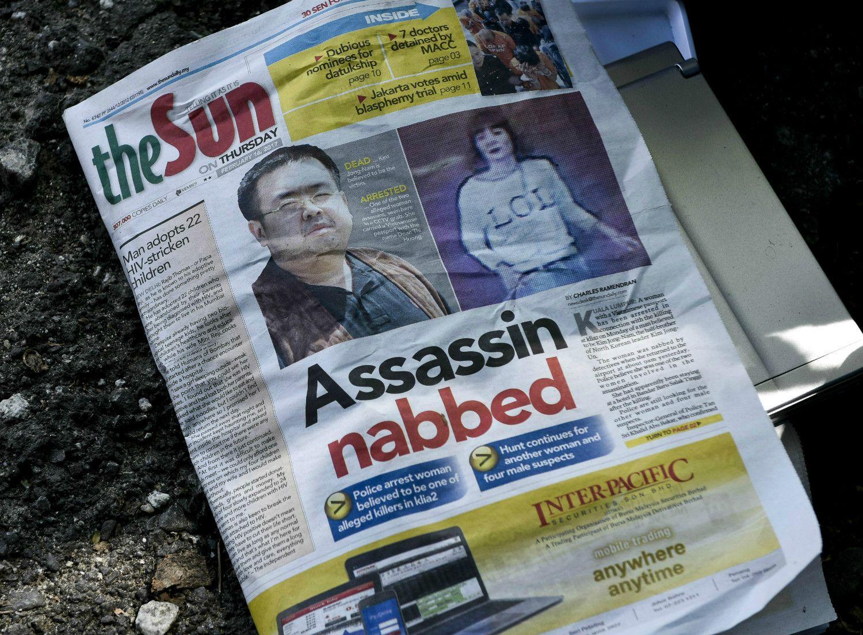 マレーシアの新聞での「金正男暗殺報道」 ©getty