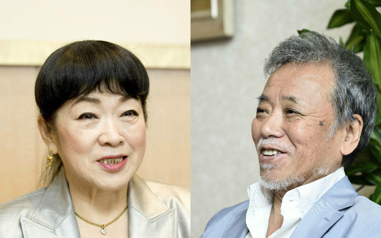 大山のぶ代さん(左)と砂川啓介さん(右) ©文藝春秋