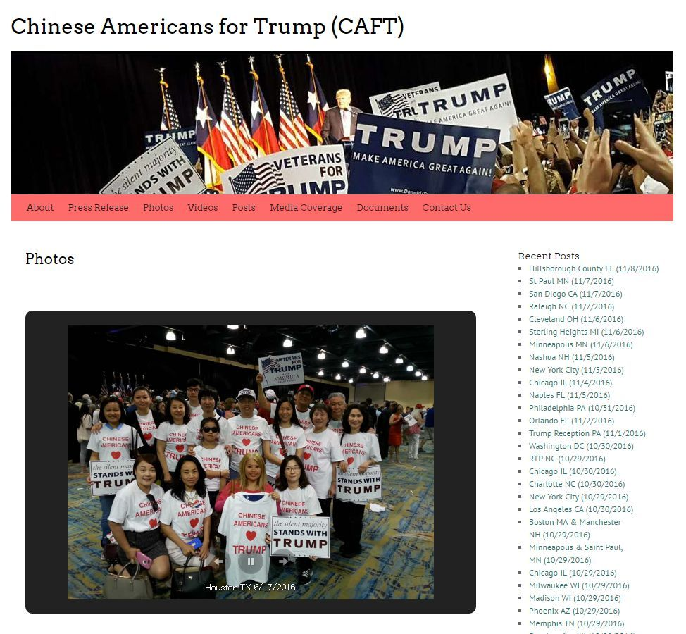 CAFTの公式HP( https://caftmovement.com/ )。在米華人紙の報道では「トランプは直接的にものを話すから好き」と語る中国系支持者の声も紹介された