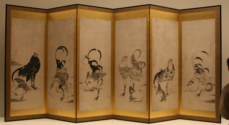 伊藤若冲《鶏図押絵貼屏風》18世紀 京都・細見美術館
