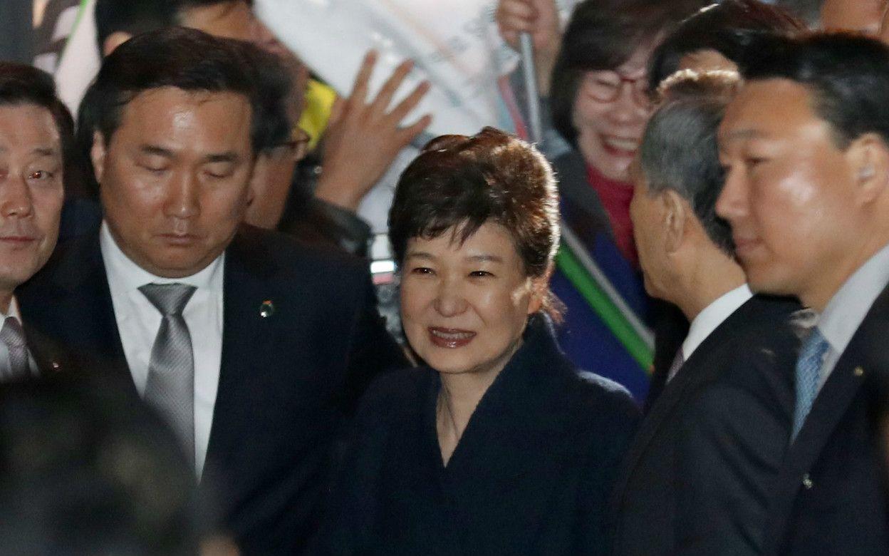 3月12日、私邸に戻った朴氏 ©時事通信社
