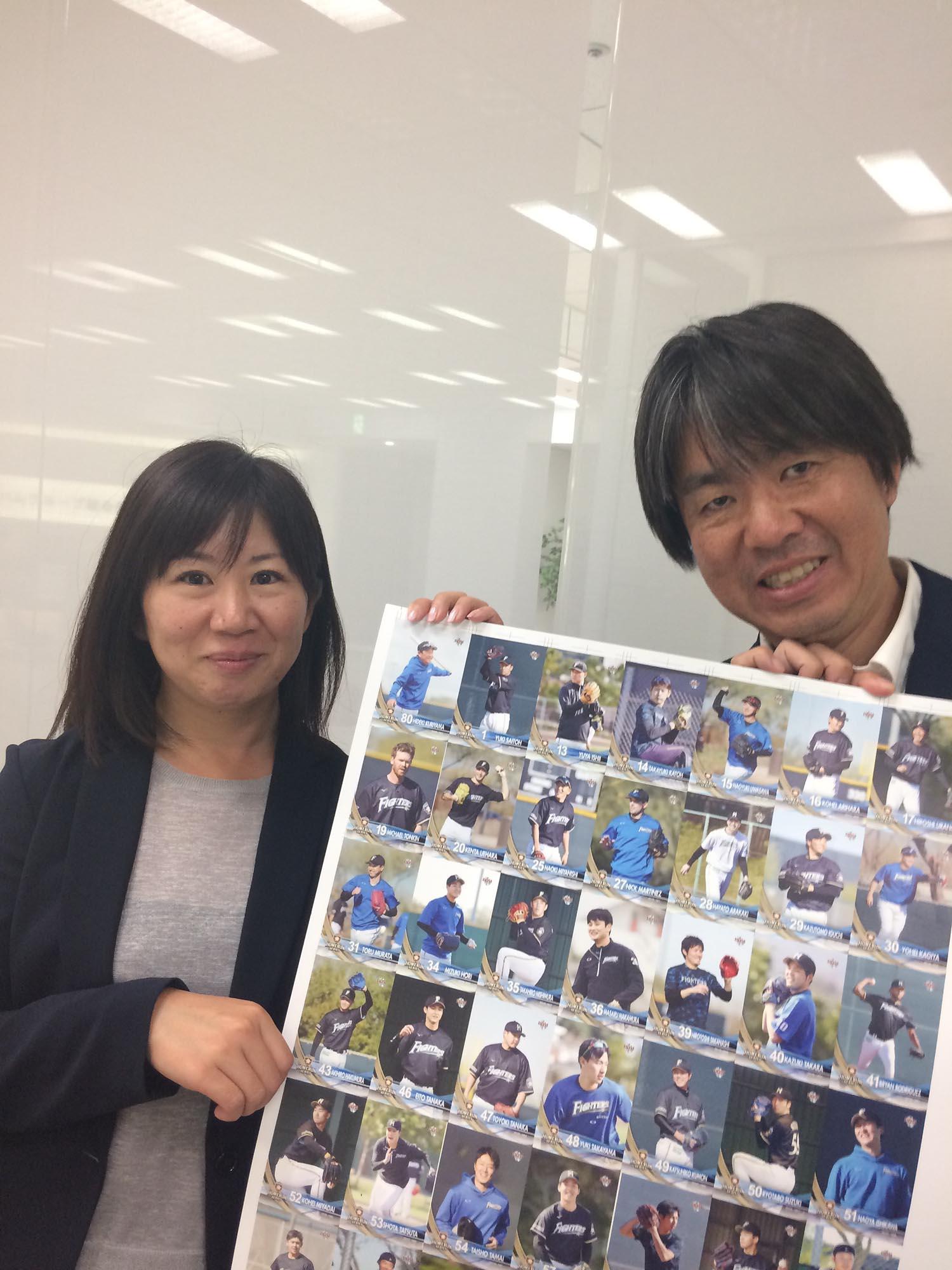 日本ハムの担当・谷川礼さんと、BBM平澤大輔さん ©えのきどいちろう