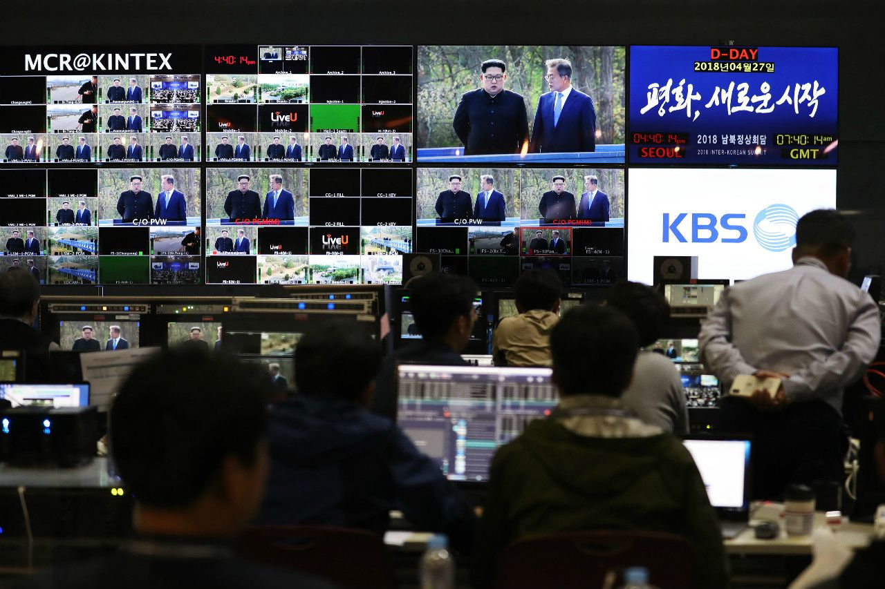 大爆笑もおこった韓国のプレスセンター ©getty