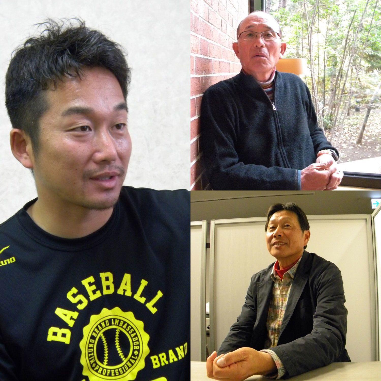 インタビュー中の石川雅規(左)、松岡弘(右上)、尾花高夫(右下) ©長谷川晶一