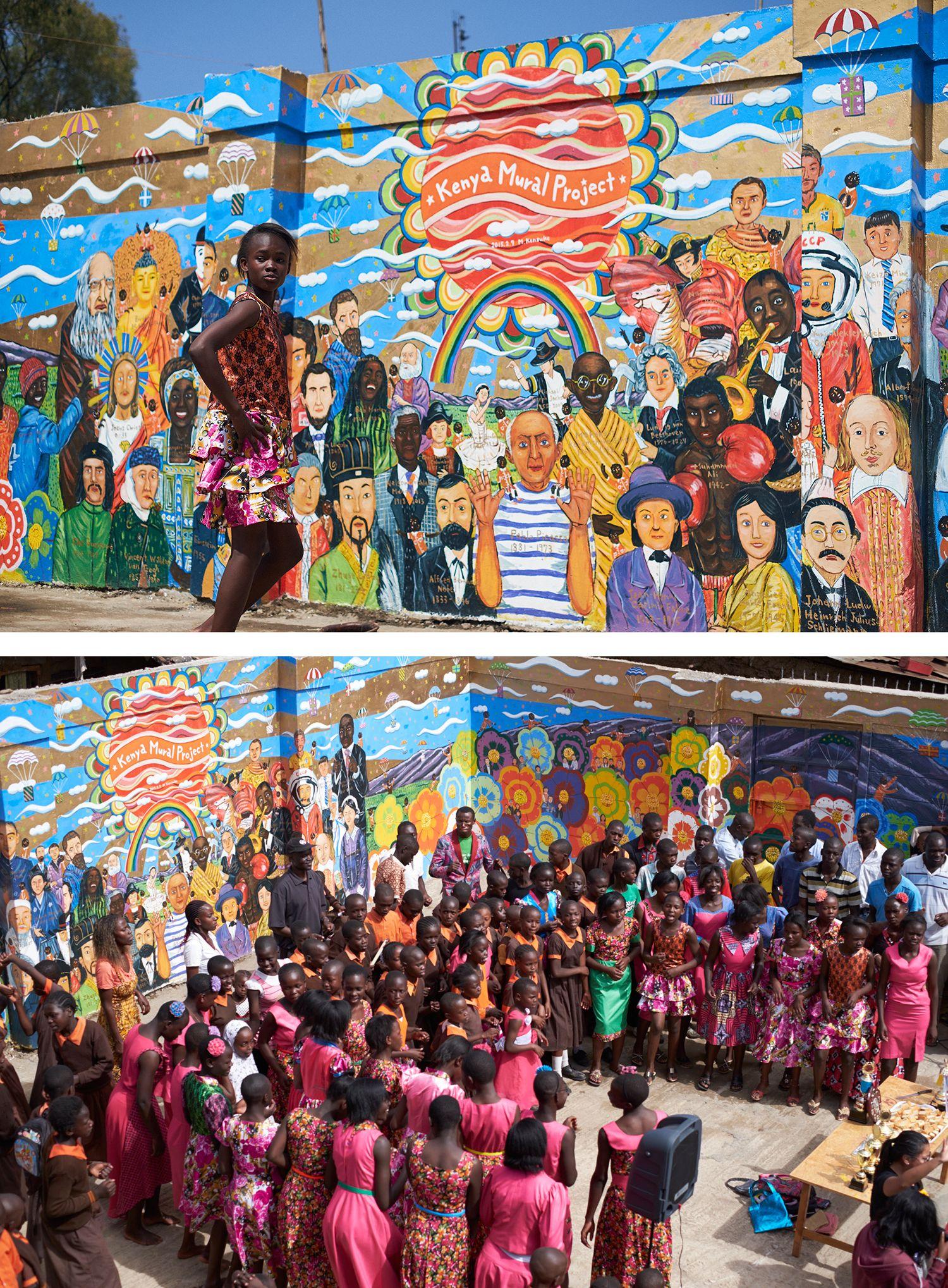 「Super Happy」がミヤザキさんの描く壁画のテーマ。一目見ただけで、心が明るくなる豊かな色彩と躍動感あふれる絵柄が壁に映える。