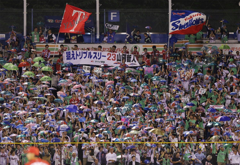 応援するヤクルトファン ©時事通信社