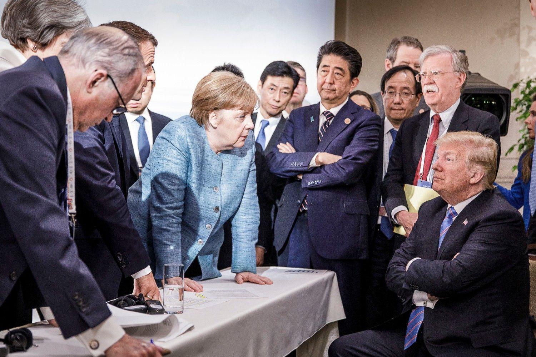 G7で対峙するメルケル首相とトランプ大統領の一幕 ©getty