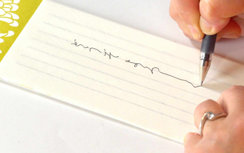 罫線の「なか」でなく、「中心」に据え文字を書く。バランスがすぐとれる。