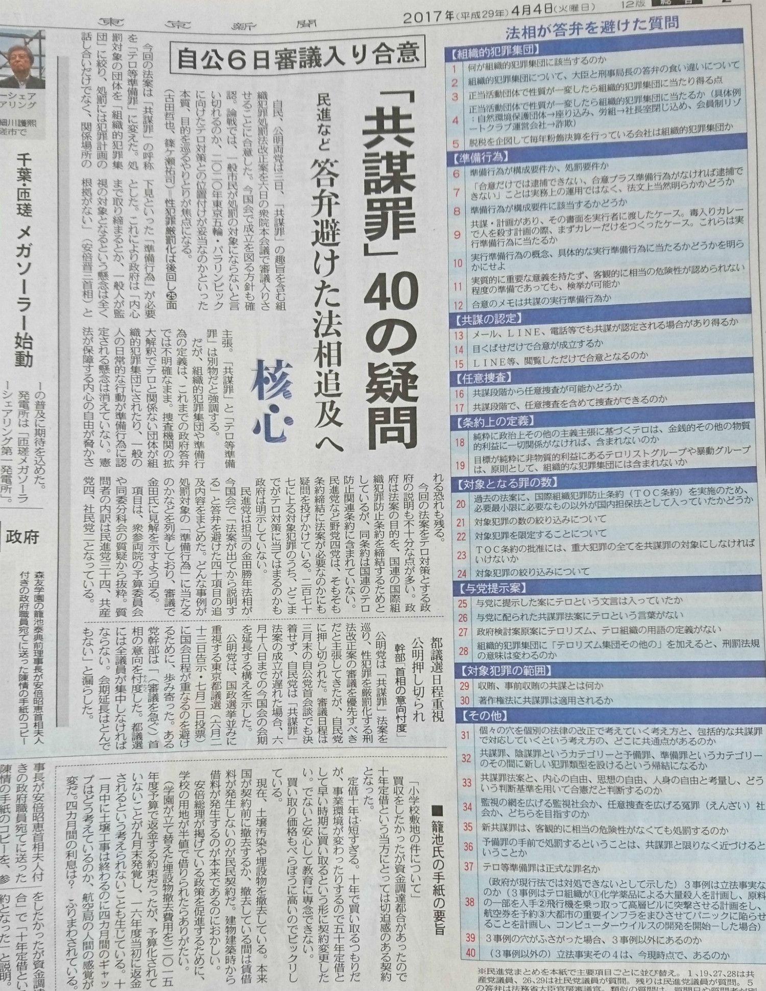 東京新聞、4月4日の朝刊で展開された「40の疑問」