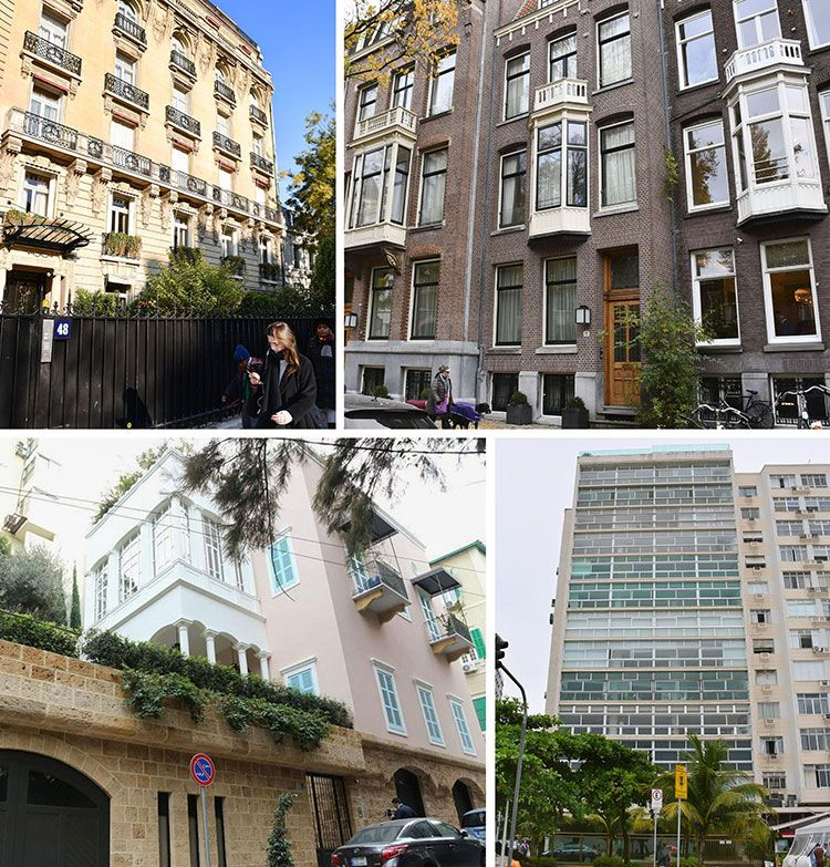 左上から時計回りにパリ、アムステルダム、ブラジル・リオデジャネイロ、ベイルートの自宅 ©共同通信社