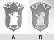 AとBのロゴマークを拡大したもの(比較のため、モノクロにした)