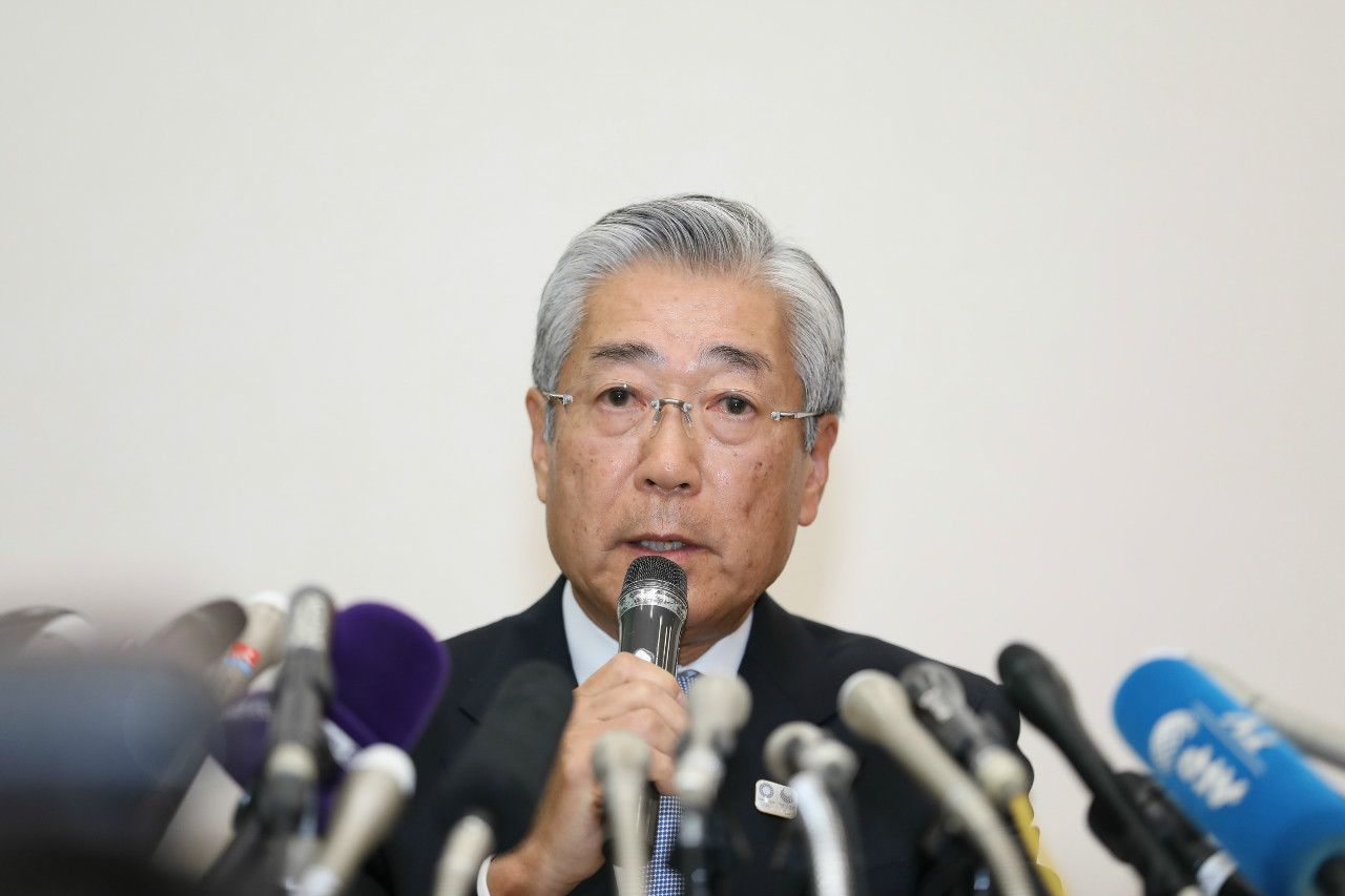 1月15日の記者会見での竹田恒和氏 ©時事通信社