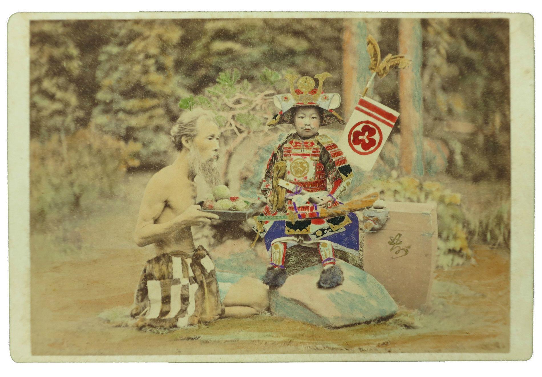 鈴木真一《(子供の武将)》明治時代中期 鶏卵紙に手彩色 後藤新平記念館