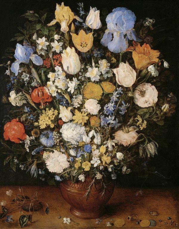 ヤン・ブリューゲル(父) 《陶製の花瓶に生けられた小さな花束》 1607年頃、油彩・板、ウィーン美術史美術館 ©KHM-Museumsverband