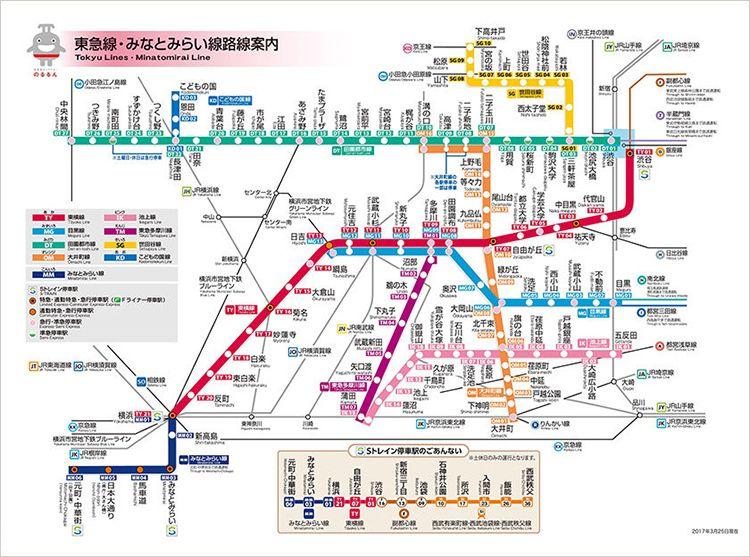 東急線・みなとみらい線路線図 東急電鉄HPより