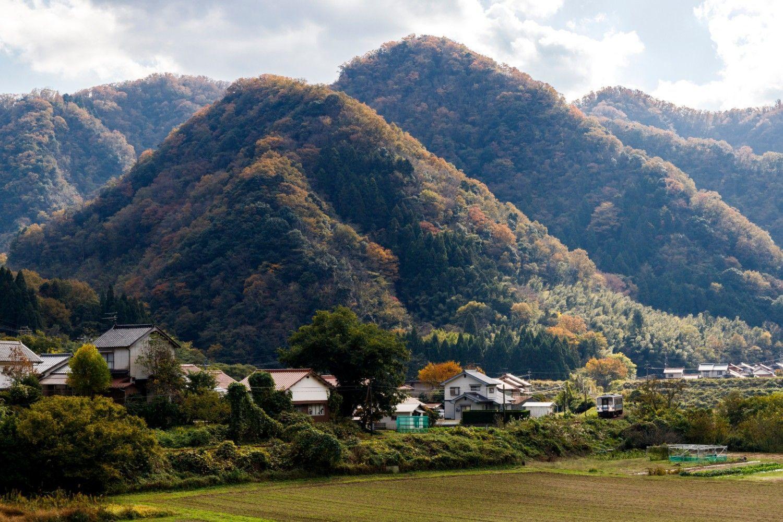 駅の周辺、わずかな平地部に田畑や小さな集落が点在。1両編成の三江線列車はその合間を縫うようにゆく(石見川越~鹿賀)